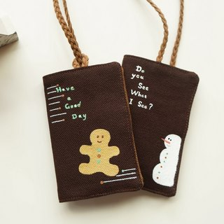 Hand-pantined gingerbread Man&Snow Man card's bag