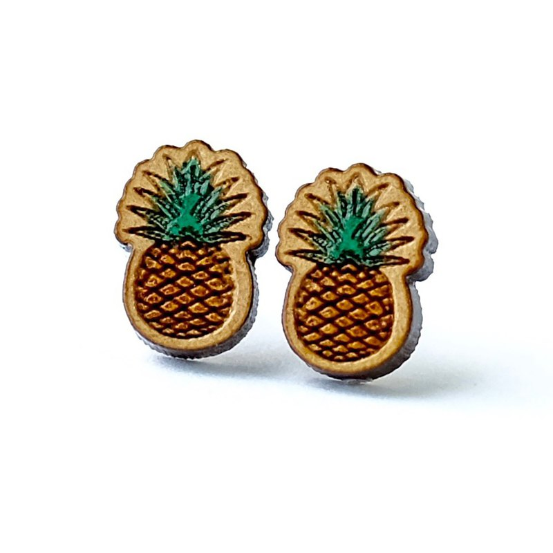 Painted wood earrings-Pineapple