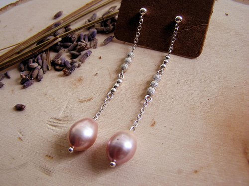 Spring Cherry Series 925 Silver Pink Freshwater Pearl Earrings