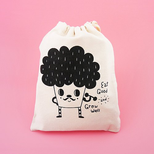 Eat Good And Grow Well The Broccoli Silkscreen Drawstring Pouch