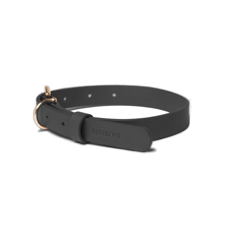 Cittadino Italian vegetable tanned leather collar - Formosa Black