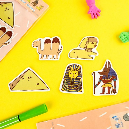 Waterproof stickers / go to Egypt to play 1 pack 5 into