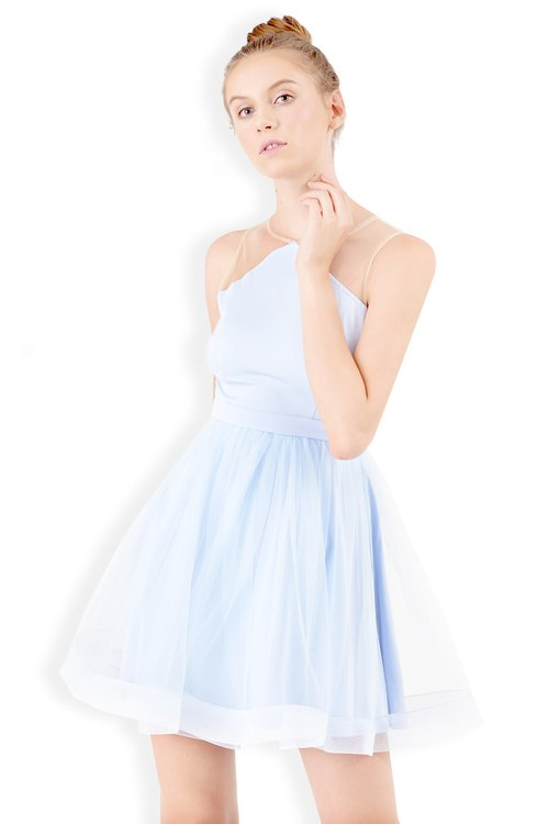 ADORIA MESH DRESS (SOFT BLUE)