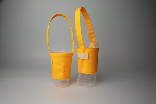 Pu.sozo cloth hand-made colorful series - Lime yellow green cup set drink cup set beverage bag bag