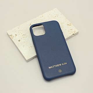 Customized Multicolor Leather Goatskin Series Macaron Dream Color Gray Blue iPhone Case