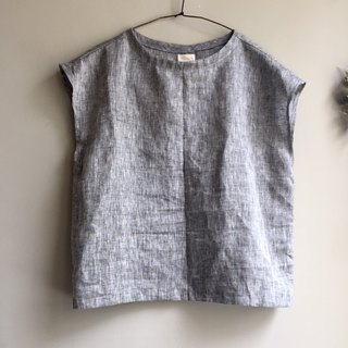 Customizable ~ / hour light / iron gray glossy French sleeve small shirt 100% hemp
