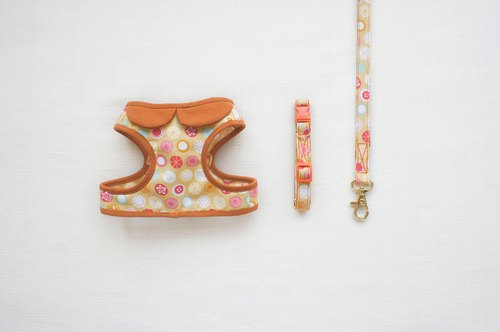 Can be customized. Orange pink fruit composition walking small circle 2 <Harnesses + + leash collar>