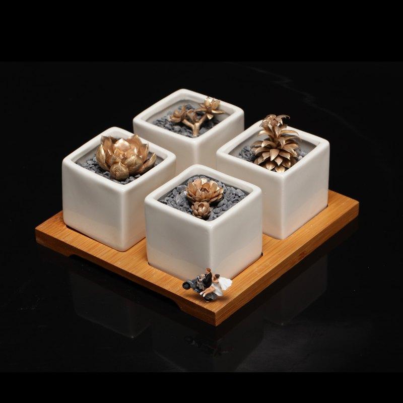 青銅多肉微型雕塑植物藝術家居桌面擺件自然創意小眾設計客製禮物