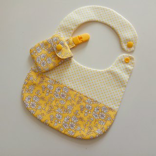 Yellow flower gift baby bib + peace symbol bag