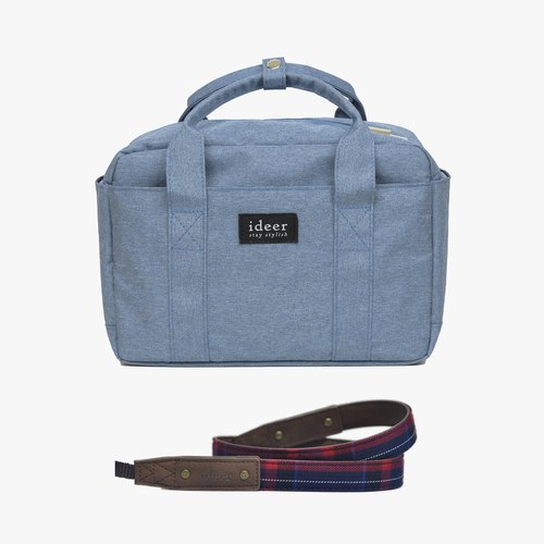 [Shipping] Bladen simple combination of blue dorsal handbag bag with three camera bag + Scottie Stewart Bleu Mini British style sub strap (young)