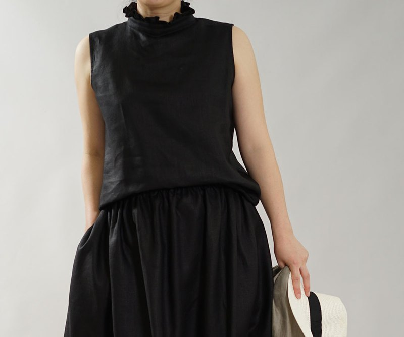 wafu Linen shell top / tank top / frill collar / sleeveless / black t043a-bck2