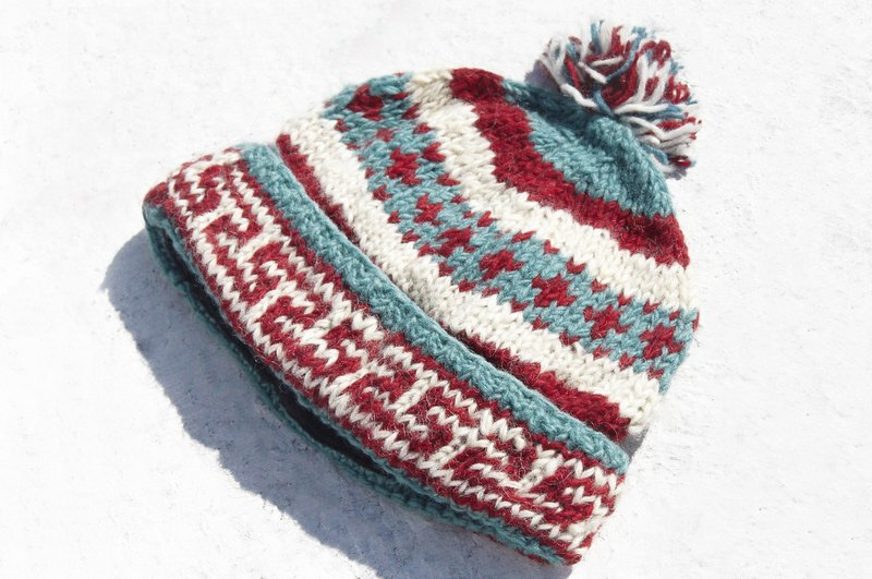 Exchange gift creative gift handmade pure wool hat / knitted hat / knitted hat / inner bristles hand knit hair hat / wool cap - hit color Nordic Fell Island totem (manual limited one)