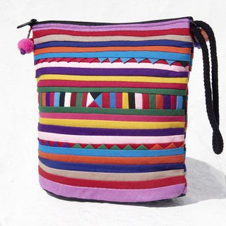 Christmas gift ideas gift exchange gifts limited a sense of design handmade cotton Cosmetic bag / storage bag / bag / debris bag / mobile phone bag / travel clutch / ethnic wind bag / camera bag - travel world color rainbow colored patchwork
