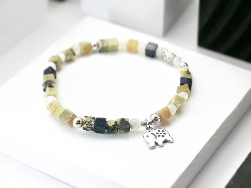 Elephant natural stone silver bracelet in the jungle │ pink 玥unicorn birthday yellow pine lapis lazuli