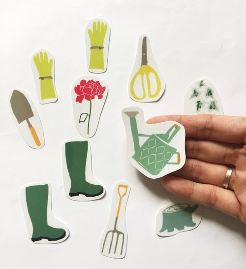 Gardening Transparent Stickers Small Gardener Hand Scissors Rose Garden with a piece of rain shoes and tools in a bag into the bag