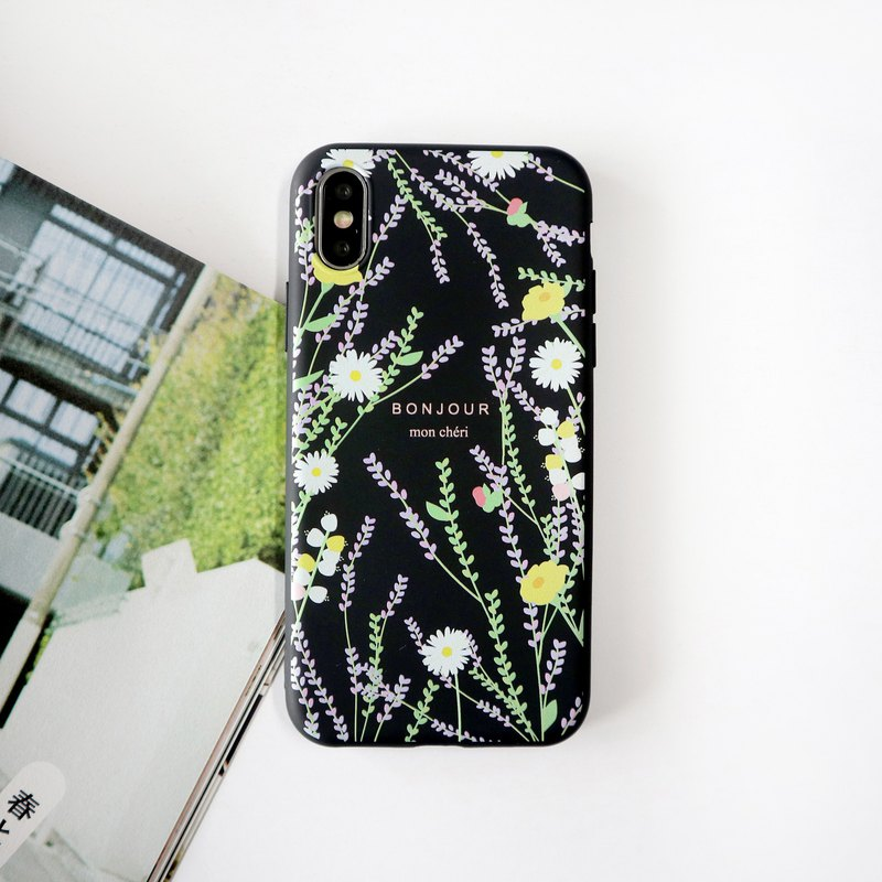 Water flower vine black phone case