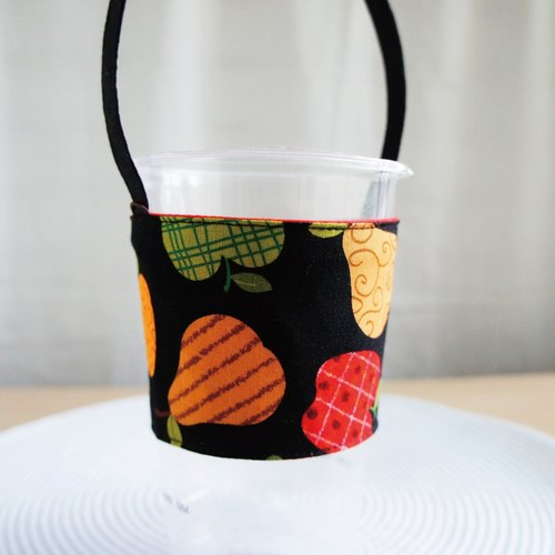 Lovely [European and American cloth custom] fruit black tea big cold drink cup bag ‧ environmental protection cup cover ‧ drink cup cover (700CC)