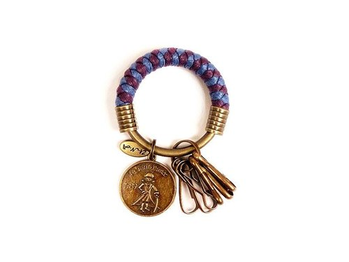 [Na UNA- excellent hand-made] key ring (small) 5.3CM violet purple + Prince + hand-woven wax rope hoop customization