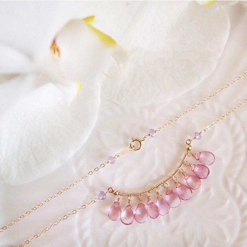 Swanlace exquisite single row winding pink topaz handwork 14kgf gold necklace / clavicle chain