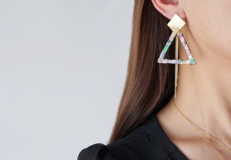 【大理石】雙向金耳釘,三角-006-
