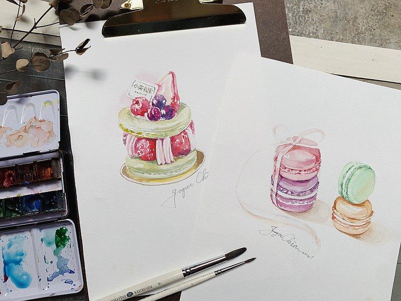 粉嫩系水彩甜點 ㄧ日套課 _ Joyce老師