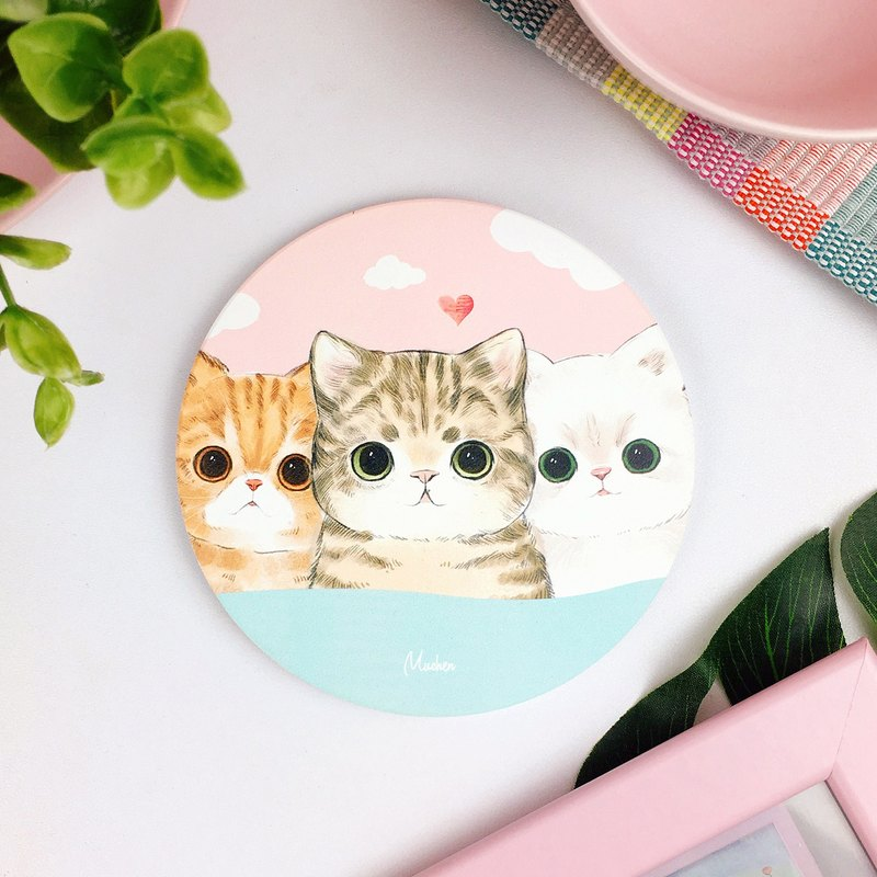 Fat cat three brothers-round ceramic water coaster / animal Shiba Inu. Christmas gift
