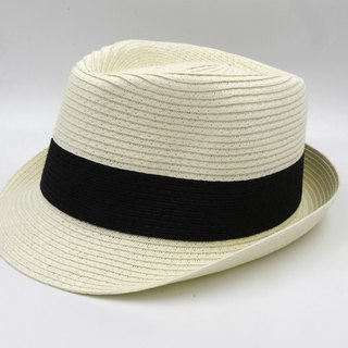 [Paper cloth home] two-color gentleman hat (white) paper weave