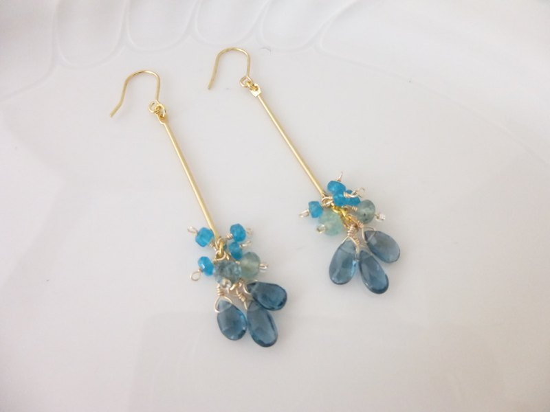 London Blue Topaz and Apatite Metal Stick Earrings Earrings
