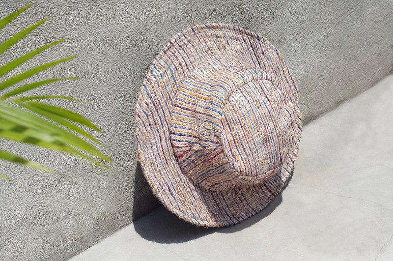Handmade sari thread woven cotton hat / woven hat / fisherman hat / straw hat / straw hat - magic blue sari line