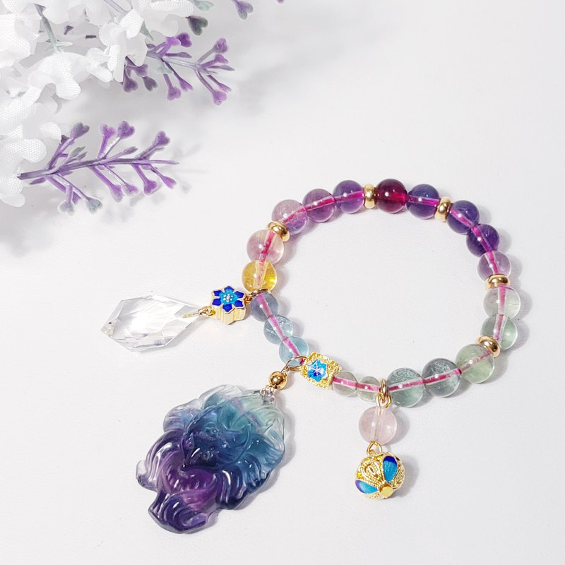 Natural Clear Rainbow Fluorite Nine-tailed Fox Enamel Bracelet Fortune Peach Blossom Business