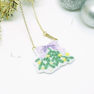 Gift Bow with Leaves Embroidery Necklace *Handmade*