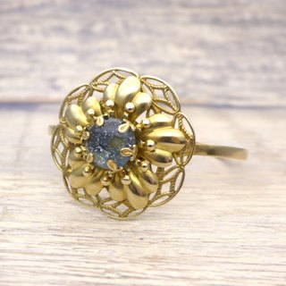 Brass and glass, Large flower Bangle, Deep blue, Vintage, Antique