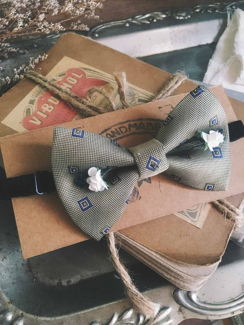 Papa's Bow Tie- antique handmade cloth flowers tie tie restructuring - Athens gentleman gray-brown - Rose Edition