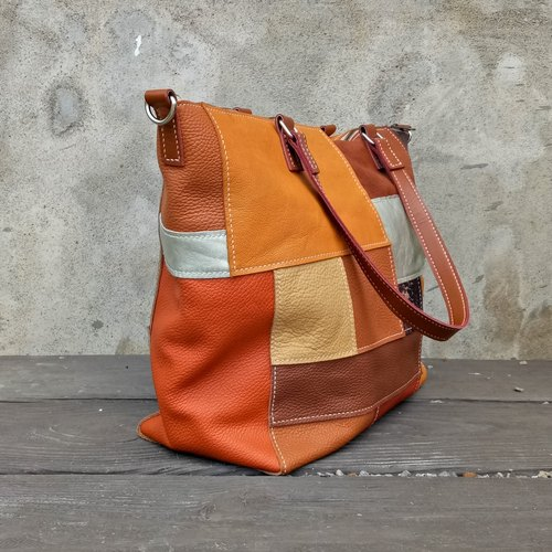 Orange mix and match tote bag (hand-sewn / full leather)