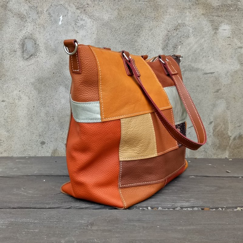 Orange mix tote bag - full hand stitching / full leather - with strap