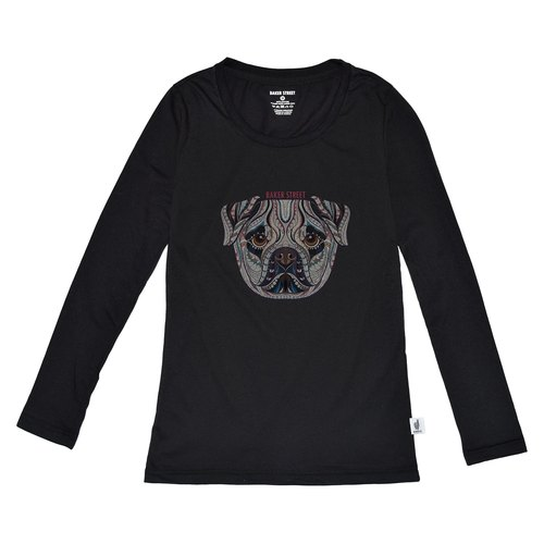 British Fashion Brand [Baker Street] Zentangle Bulldog Printed Long Sleeve