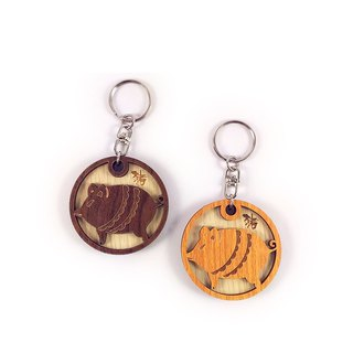 Wood Carving Key Ring - 12 Zodiac (Pig)