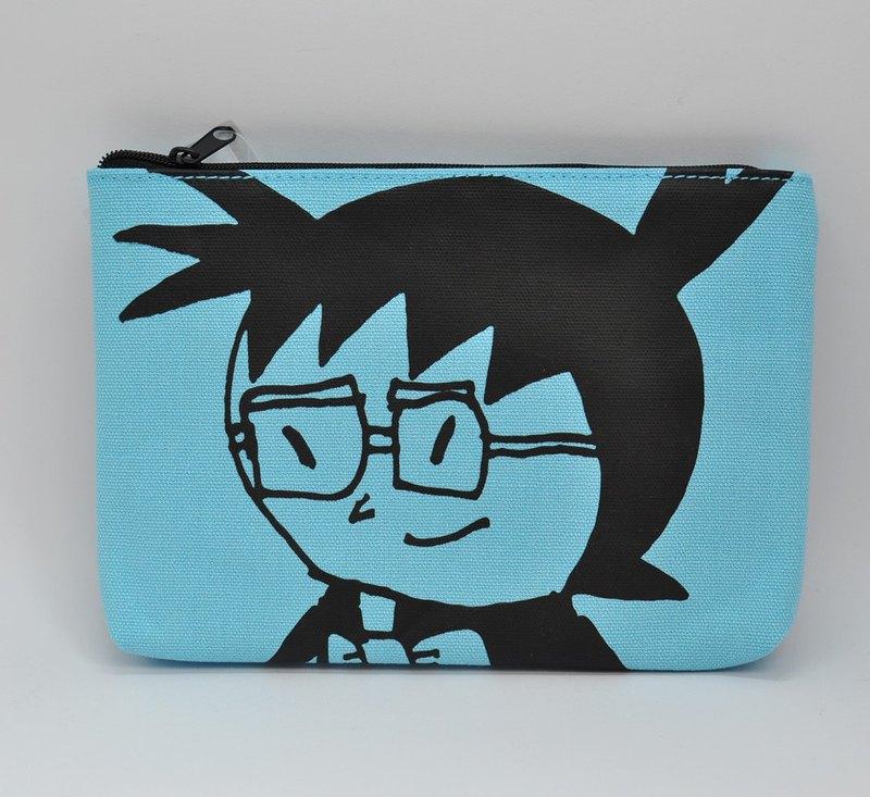 【日本Swimmy Design Lab】日本經典卡通系列-名偵探柯南圖案 化妝包/收納包/A6整理包(淡藍)