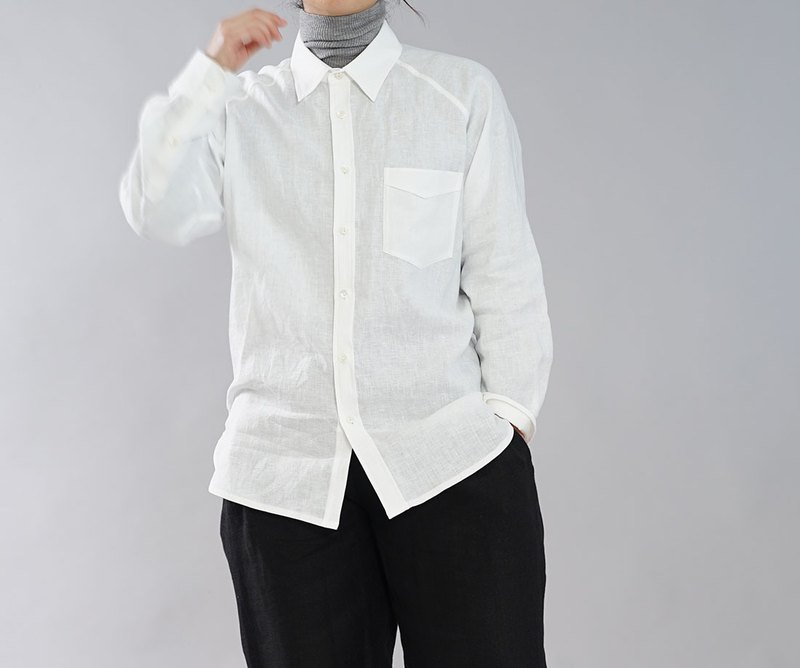 wafu Linen shirts / long sleeves / outer wear / white  t035a-wht1