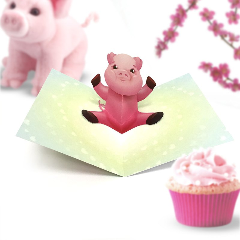 Pig Pop Up Card | Piggy Card | Pig Birthday Card | Pig Baby Shower Card | Piggy