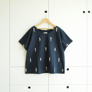 catsters crop t-shirt : navy