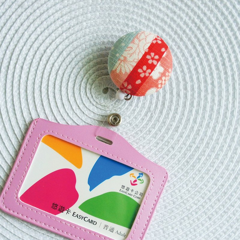 Lovely [and wind patchwork retractable buckle + card holder] leisure card, ID card set [cherry pink]