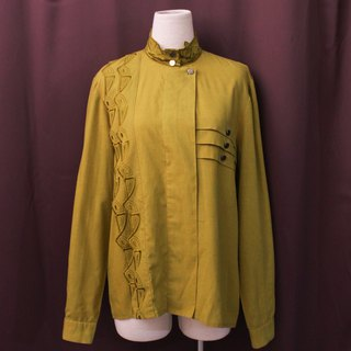 Vintage European Special Cut Embroidery Olive Yellow Cotton Long Sleeve Vintage Shirt Vintage Blouse