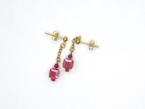 Cranberry crystal earrings ear clip