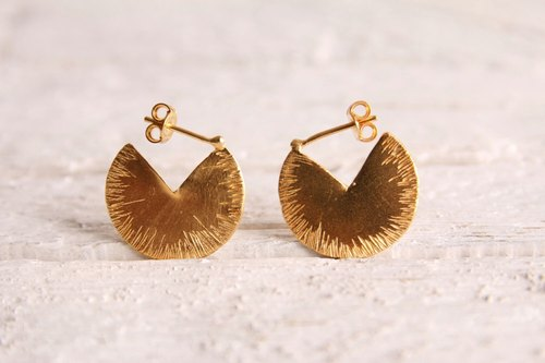 Geometric World a lotus leaf 24K gold plated 925 sterling silver earrings earrings elegant minimalist geometry capable bridal jewelry handmade original design simple romantic Christmas birthday Valentine's Day wedding gift | ancient Greek original desi