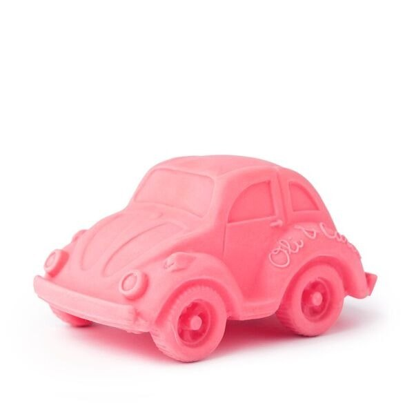 Spain Oli & Carol | modern small tortoise car - pink | natural non-toxic rubber solid tooth device / bath toys