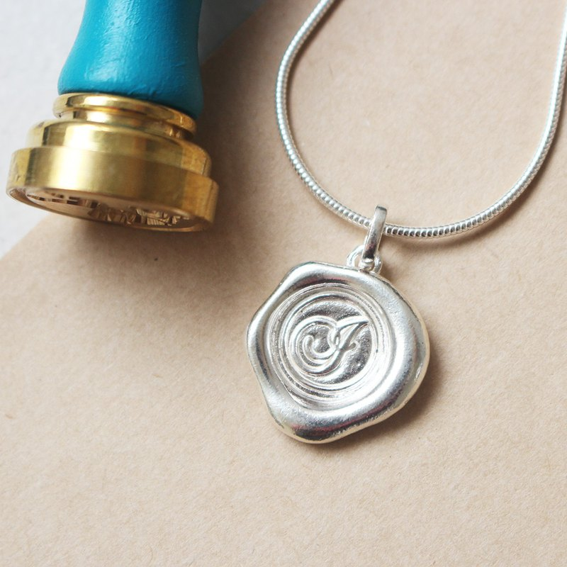 Initial Monogram I / Make a Mark Personalised 925 Silver Wax Seal Necklace