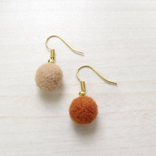 Wool ball earring