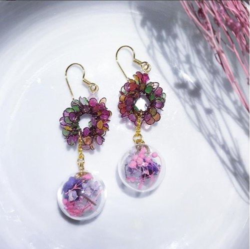 Wreath glass ball earrings [My heart]