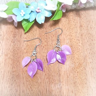 Gradation purple trio earrings / ear pin / ear clip